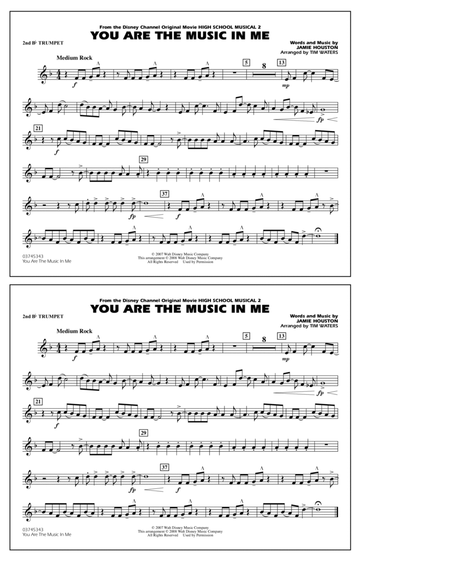 You Are the Music In Me (from High School Musical 2) - 2nd Bb Trumpet