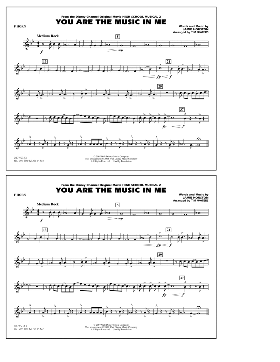 You Are the Music In Me (from High School Musical 2) - F Horn