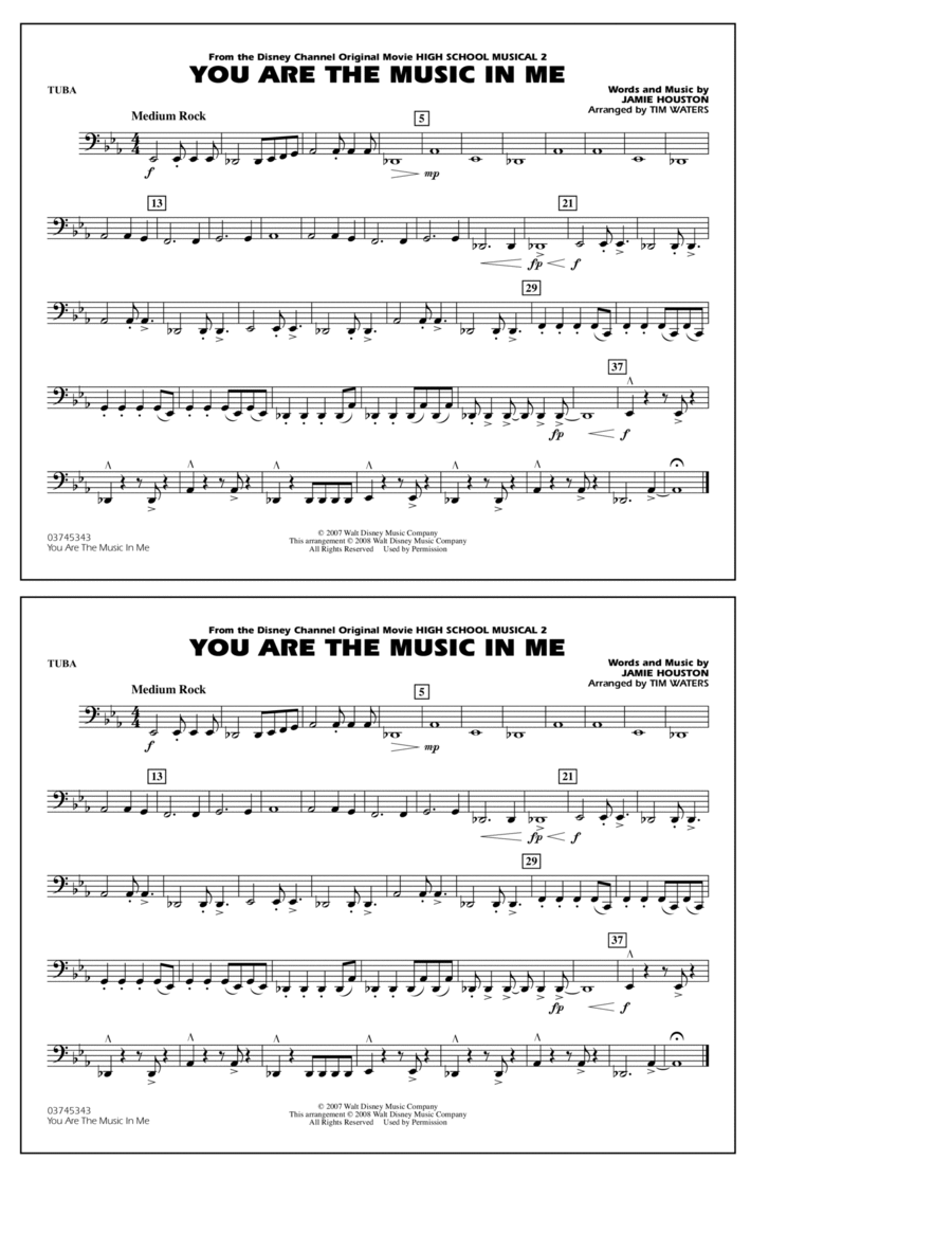 You Are the Music In Me (from High School Musical 2) - Tuba