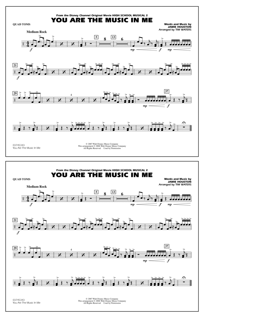 You Are the Music In Me (from High School Musical 2) - Quad Toms