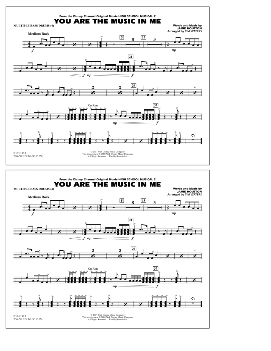 You Are the Music In Me (from High School Musical 2) - Multiple Bass Drums