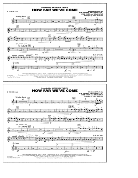 How Far We've Come - Bb Tenor Sax