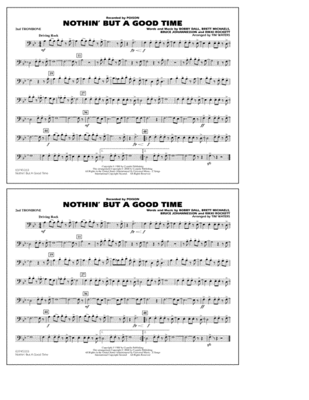 Nothin' But A Good Time - 2nd Trombone