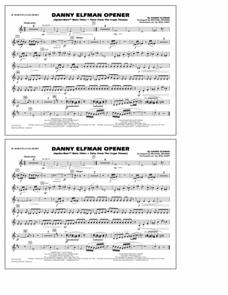 Danny Elfman Opener - Bb Horn/Flugelhorn