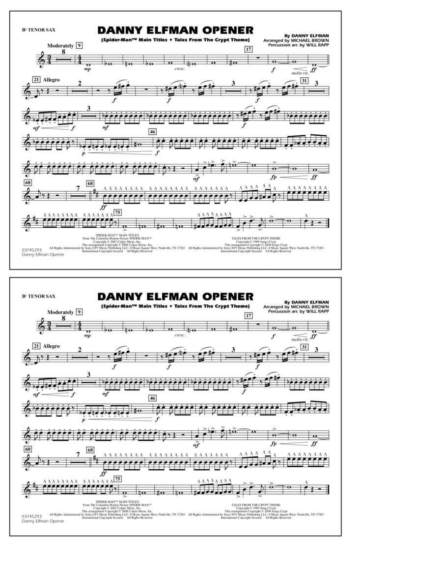 Danny Elfman Opener - Bb Tenor Sax