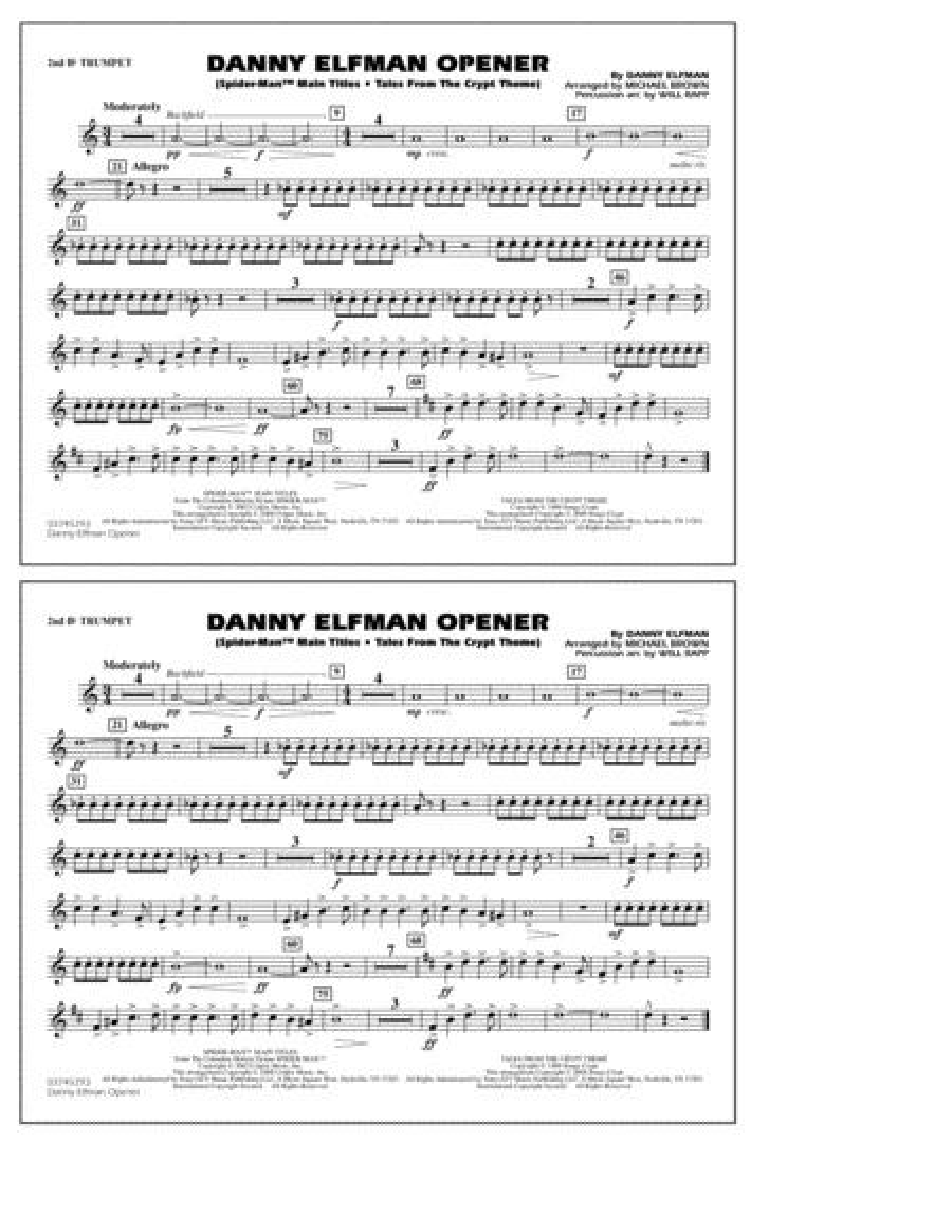 Danny Elfman Opener - 2nd Bb Trumpet