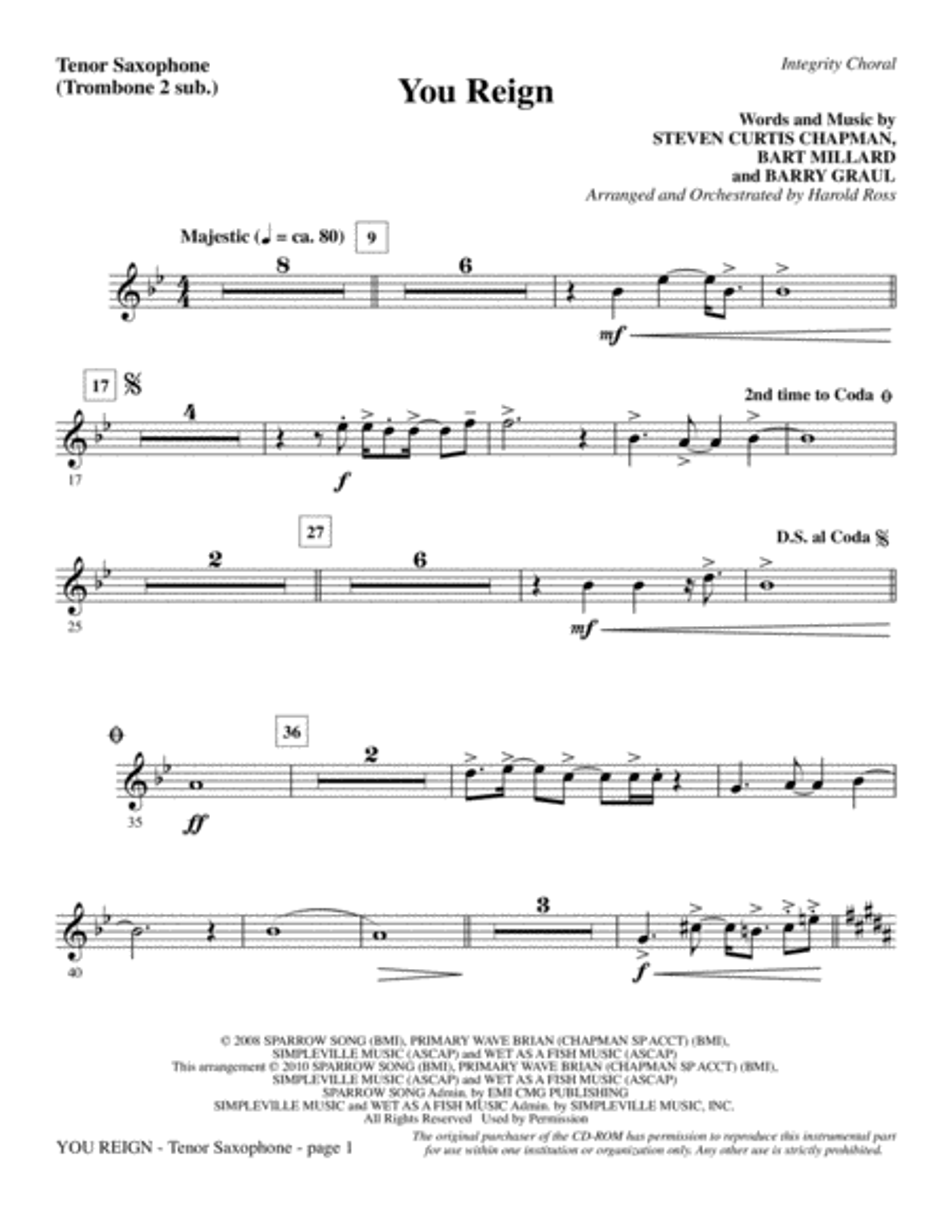 You Reign - Tenor Sax (sub. Tbn 2)