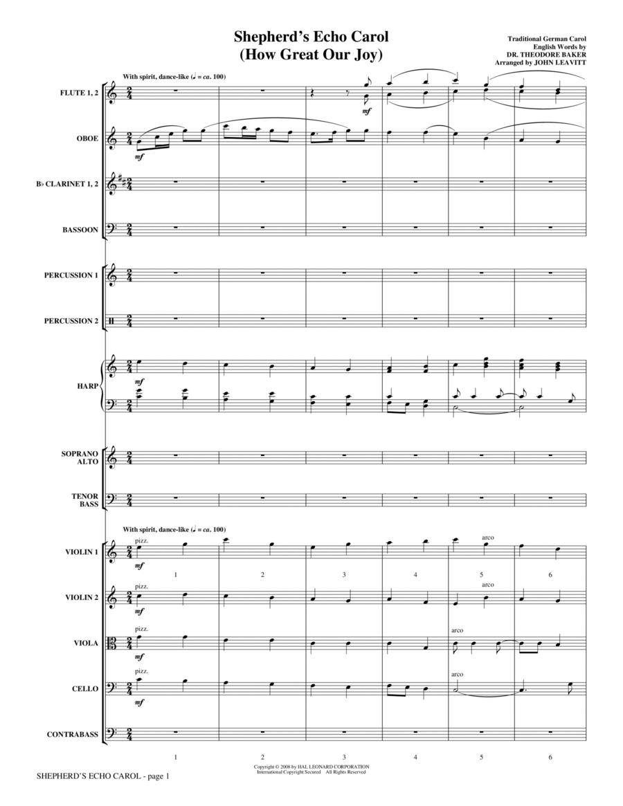 Shepherd's Echo Carol (How Great Our Joy) - Full Score