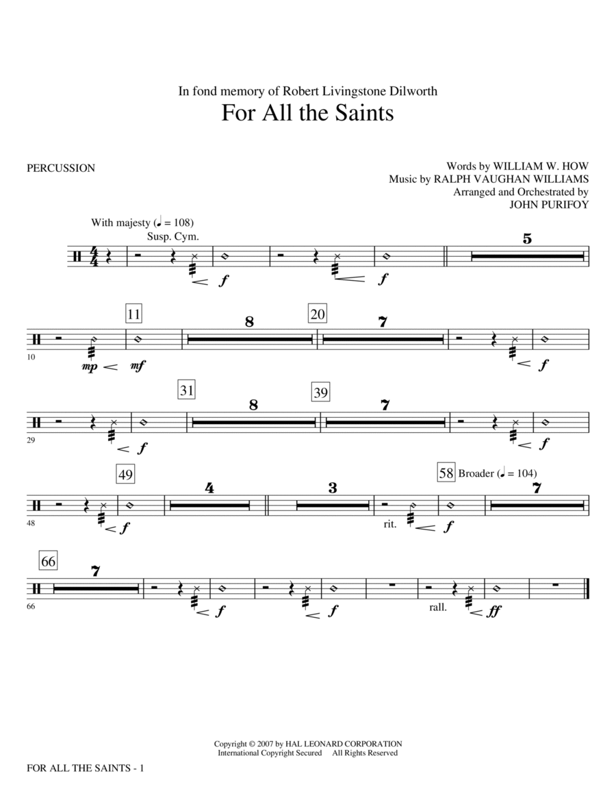 For All The Saints - Percussion