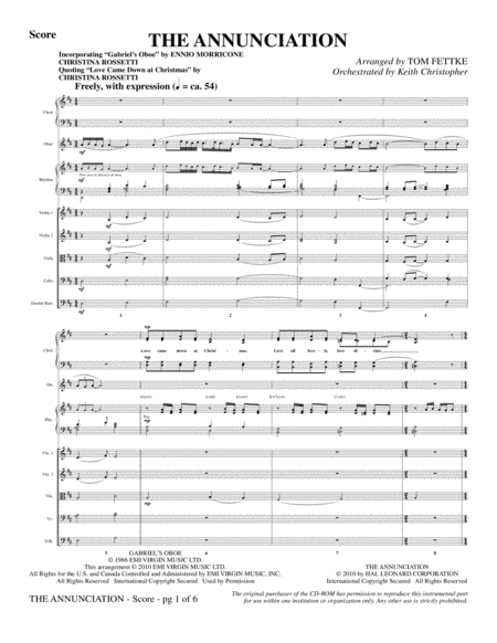 The Annunciation (incorporating Gabriel's Oboe) - Full Score