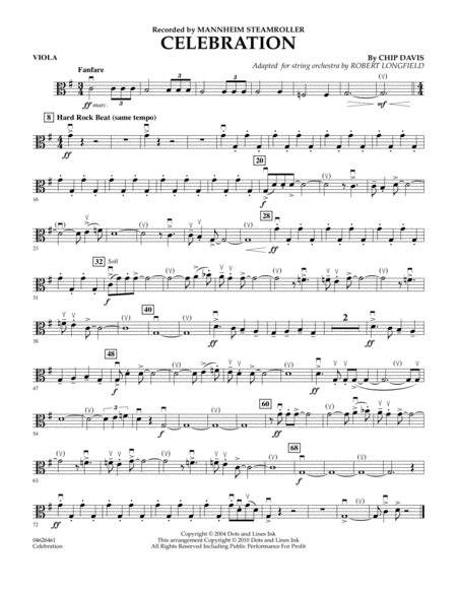 Celebration (Mannheim Steamroller) - Viola