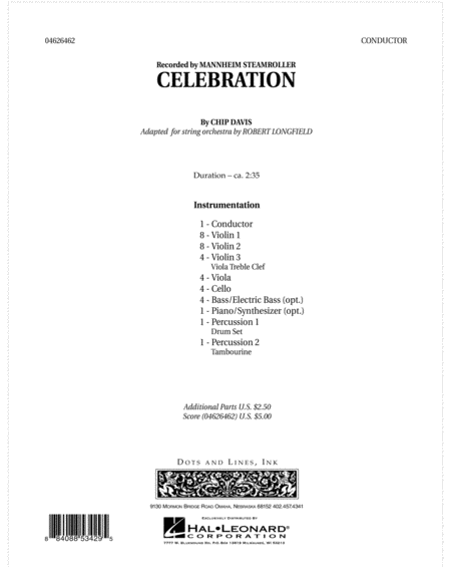 Celebration (Mannheim Steamroller) - Full Score