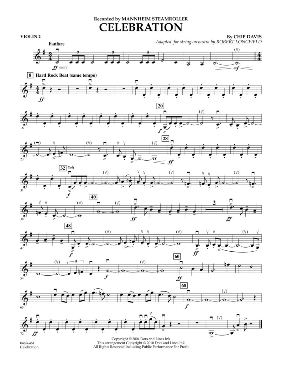 Celebration (Mannheim Steamroller) - Violin 2