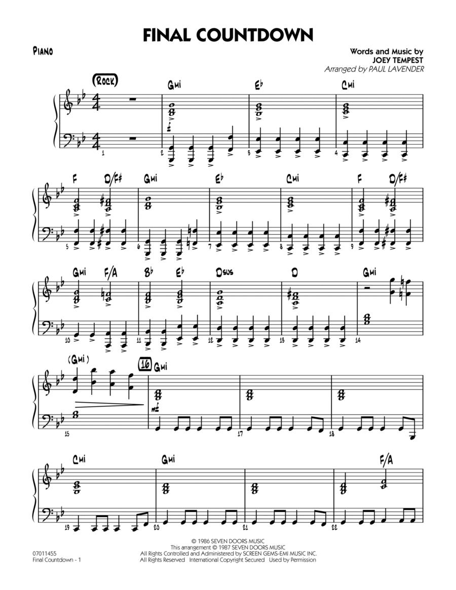 Final Countdown - Piano