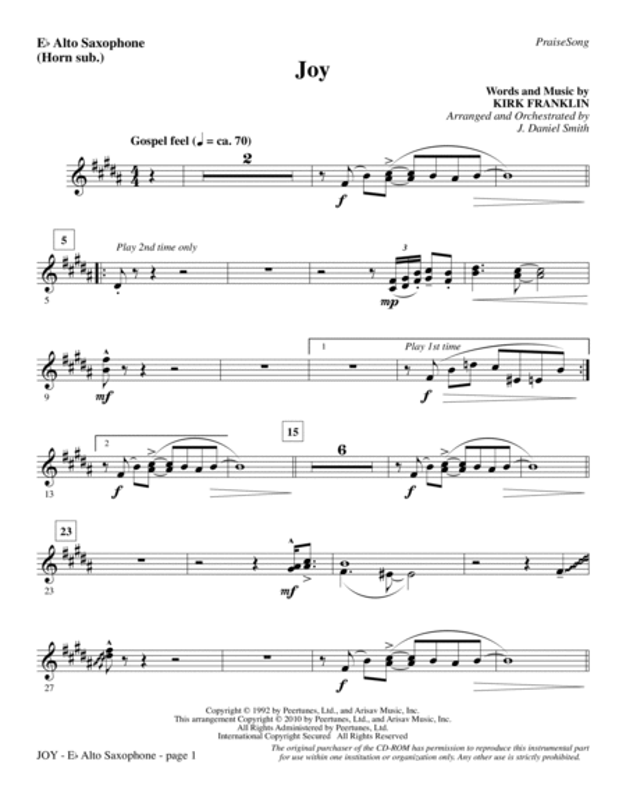 Joy - Alto Sax (sub. Horn)