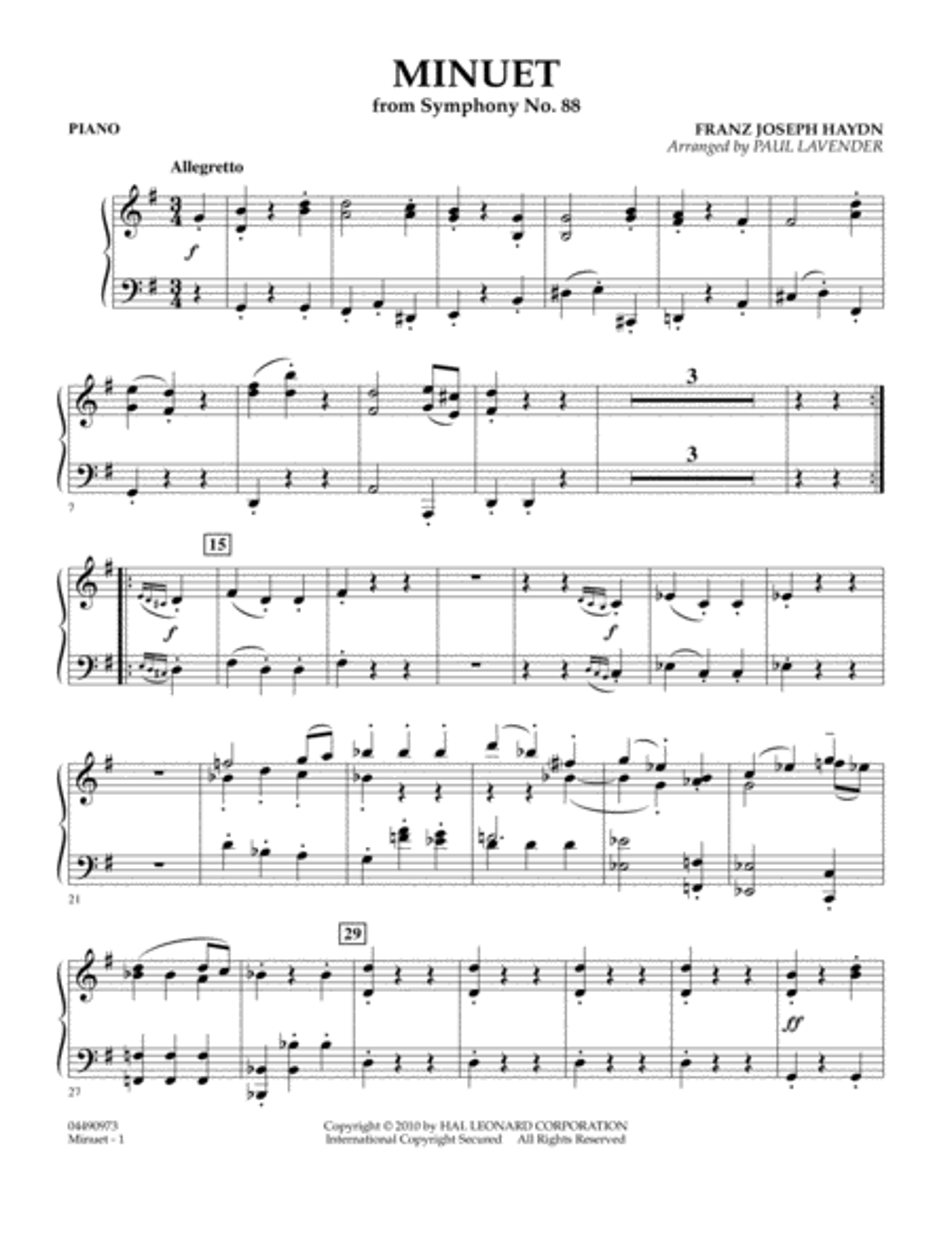 Minuet (from Symphony No. 88) - Piano