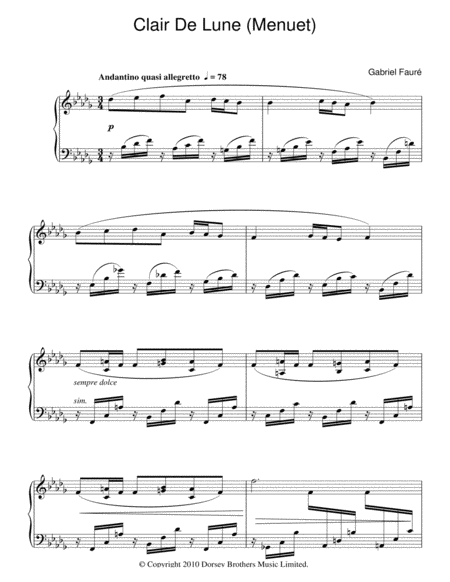 Minuet From Clair De Lune