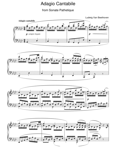 Adagio Cantabile From Sonate Pathetique Op. 13, Theme From The Second Movement
