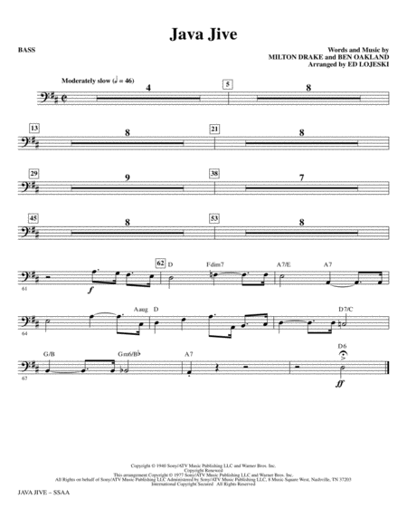 Java Jive (SSAA Octavo Accompaniment Parts) - Bass