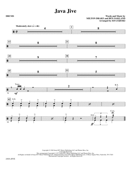 Java Jive (SSAA Octavo Accompaniment Parts) - Drums