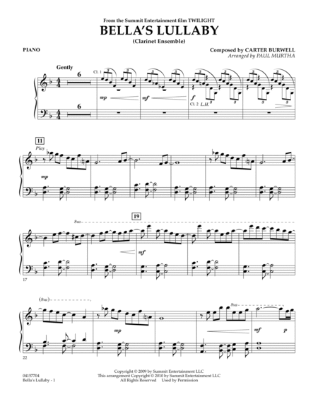 Bella's Lullaby (Clarinet Ensemble with Opt. Rhythm Section) - Piano