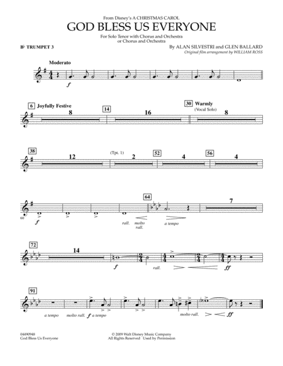 God Bless Us Everyone - Bb Trumpet 3