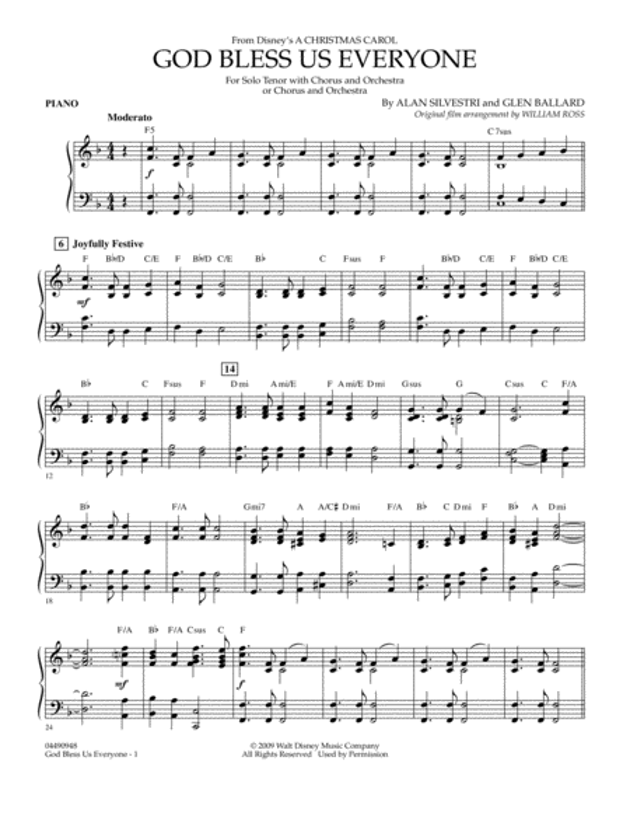 God Bless Us Everyone - Piano