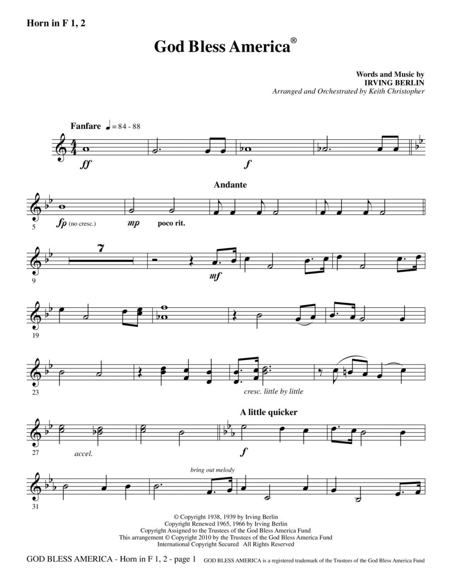 God Bless America - F Horn 1,2