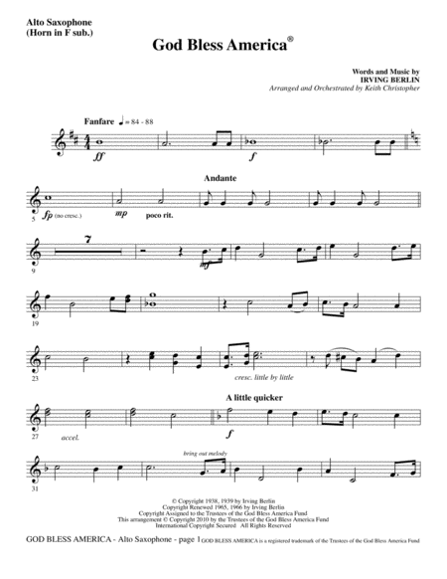God Bless America - Alto Sax (sub. Horn)
