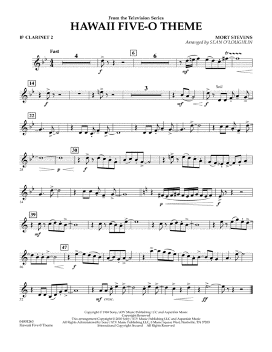 Hawaii Five-O Theme - Bb Clarinet 2