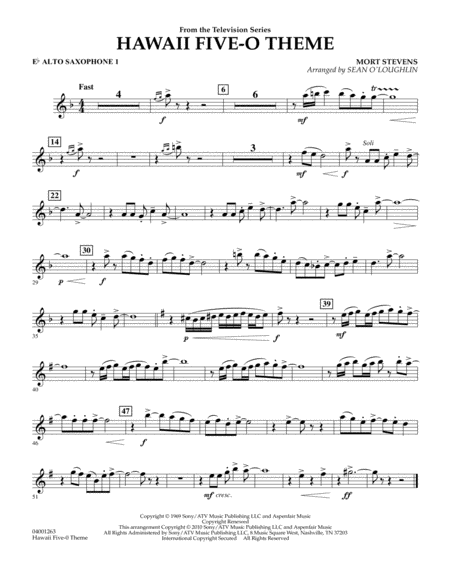 Hawaii Five-O Theme - Eb Alto Saxophone 1
