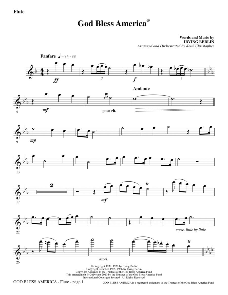 God Bless America - Flute