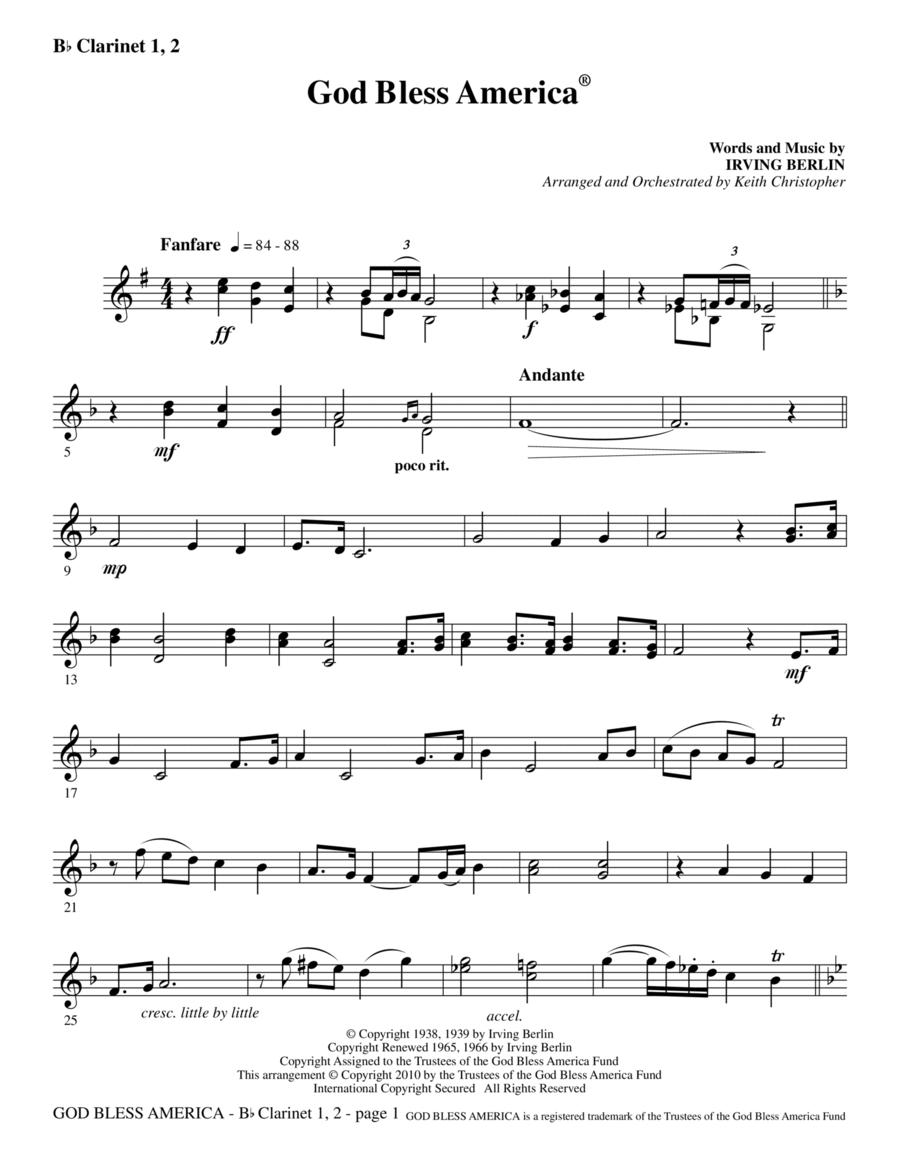 God Bless America - Clarinet 1 & 2