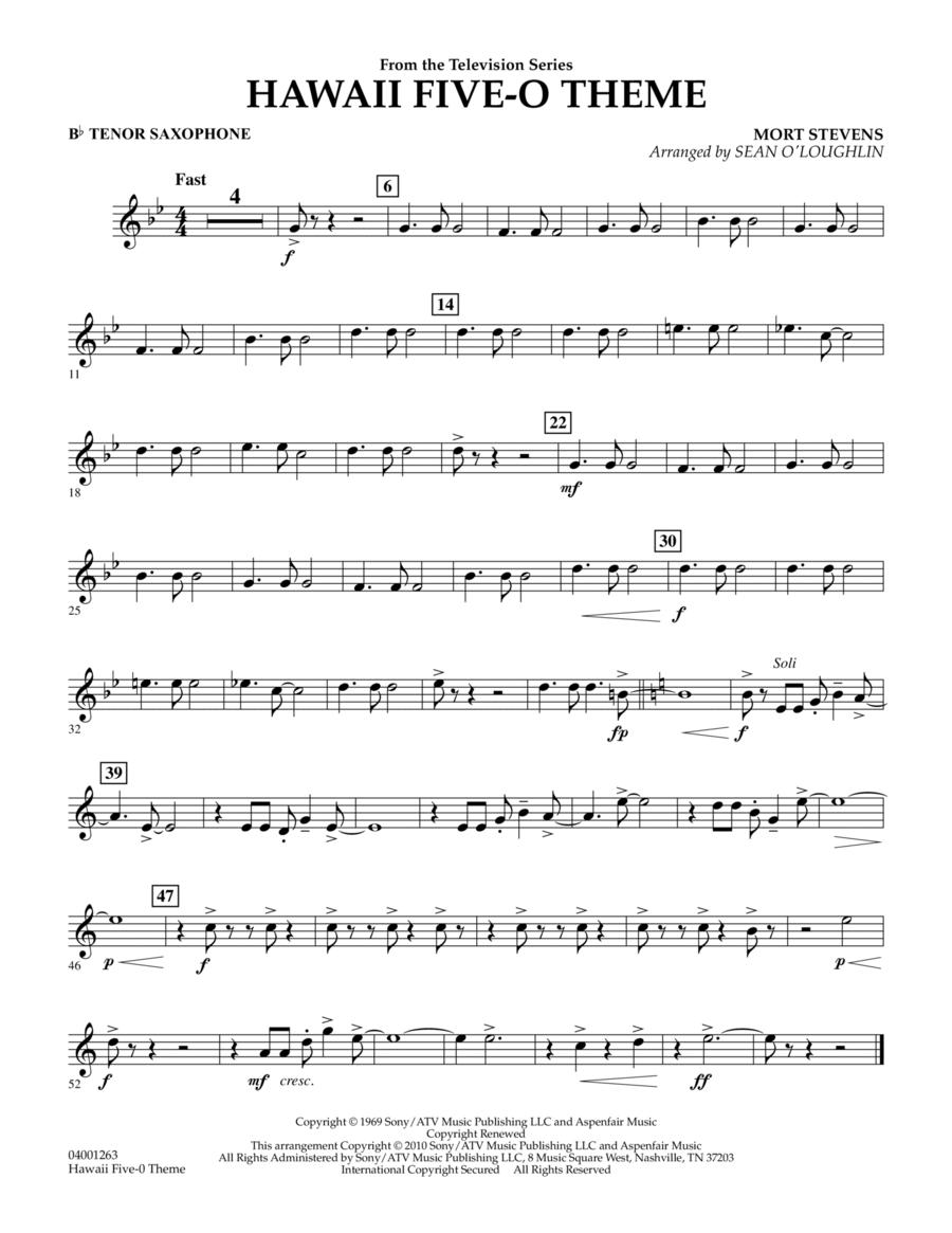 Hawaii Five-O Theme - Bb Tenor Saxophone