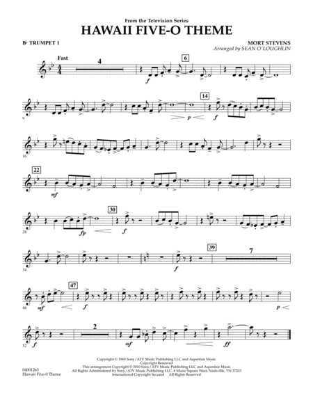 Hawaii Five-O Theme - Bb Trumpet 1
