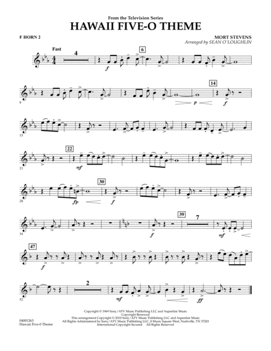 Hawaii Five-O Theme - F Horn 2