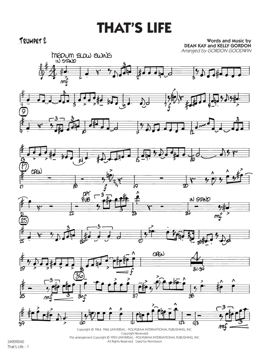 That's Life - Trumpet 2