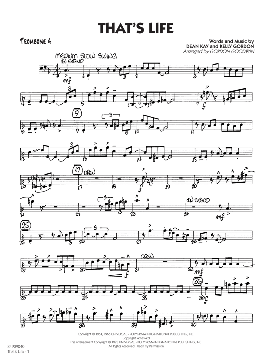 That's Life - Trombone 4