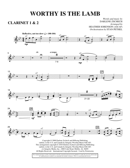 Worthy Is The Lamb - Bb Clarinet 1,2
