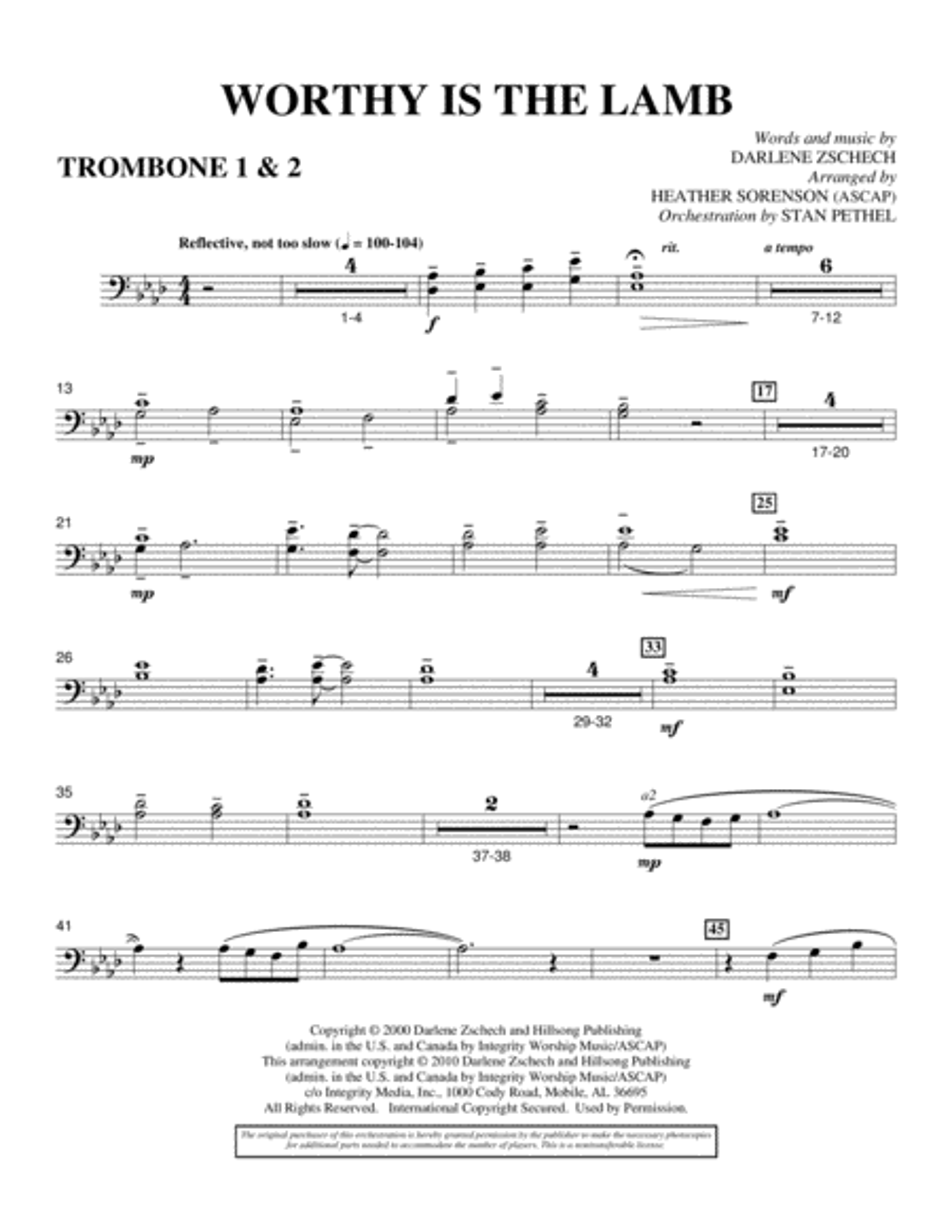 Worthy Is The Lamb - Trombone 1 & 2