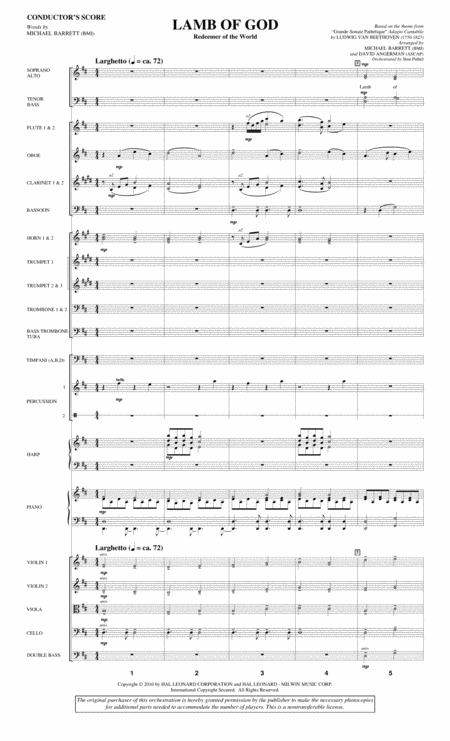 Lamb Of God (Redeemer Of The World) - Score