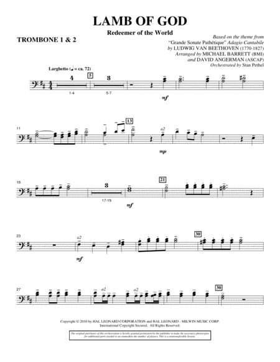 Lamb Of God (Redeemer Of The World) - Trombone 1 & 2