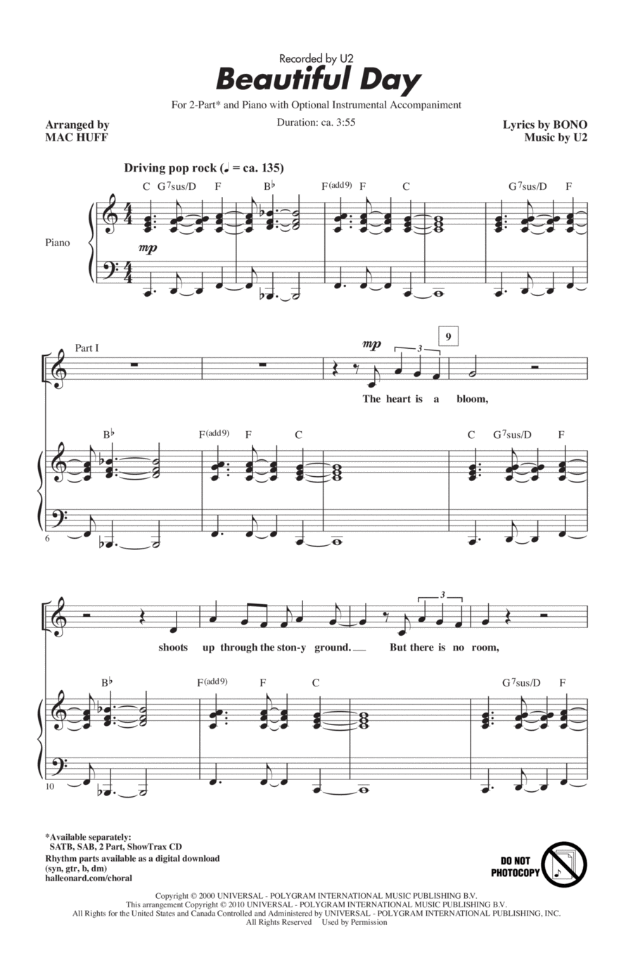 download beautiful day sheet music by u2 sheet music plus. Black Bedroom Furniture Sets. Home Design Ideas