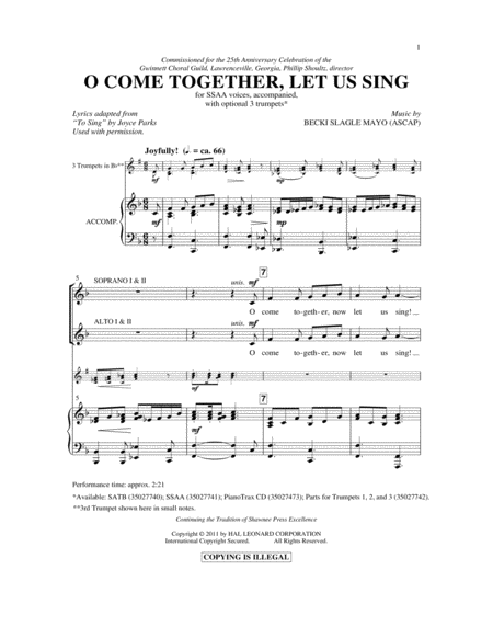 O Come Together, Let Us Sing