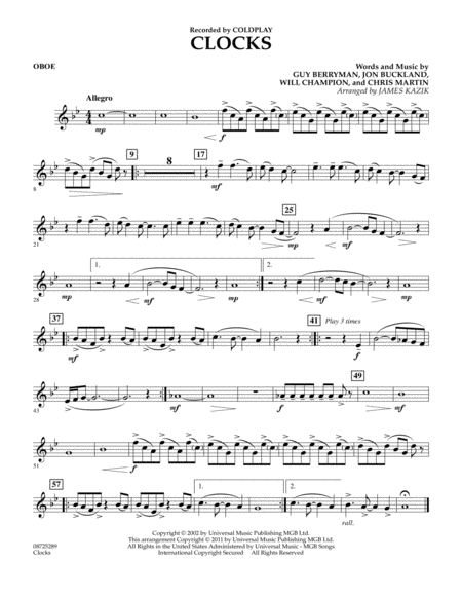 Clocks - Oboe