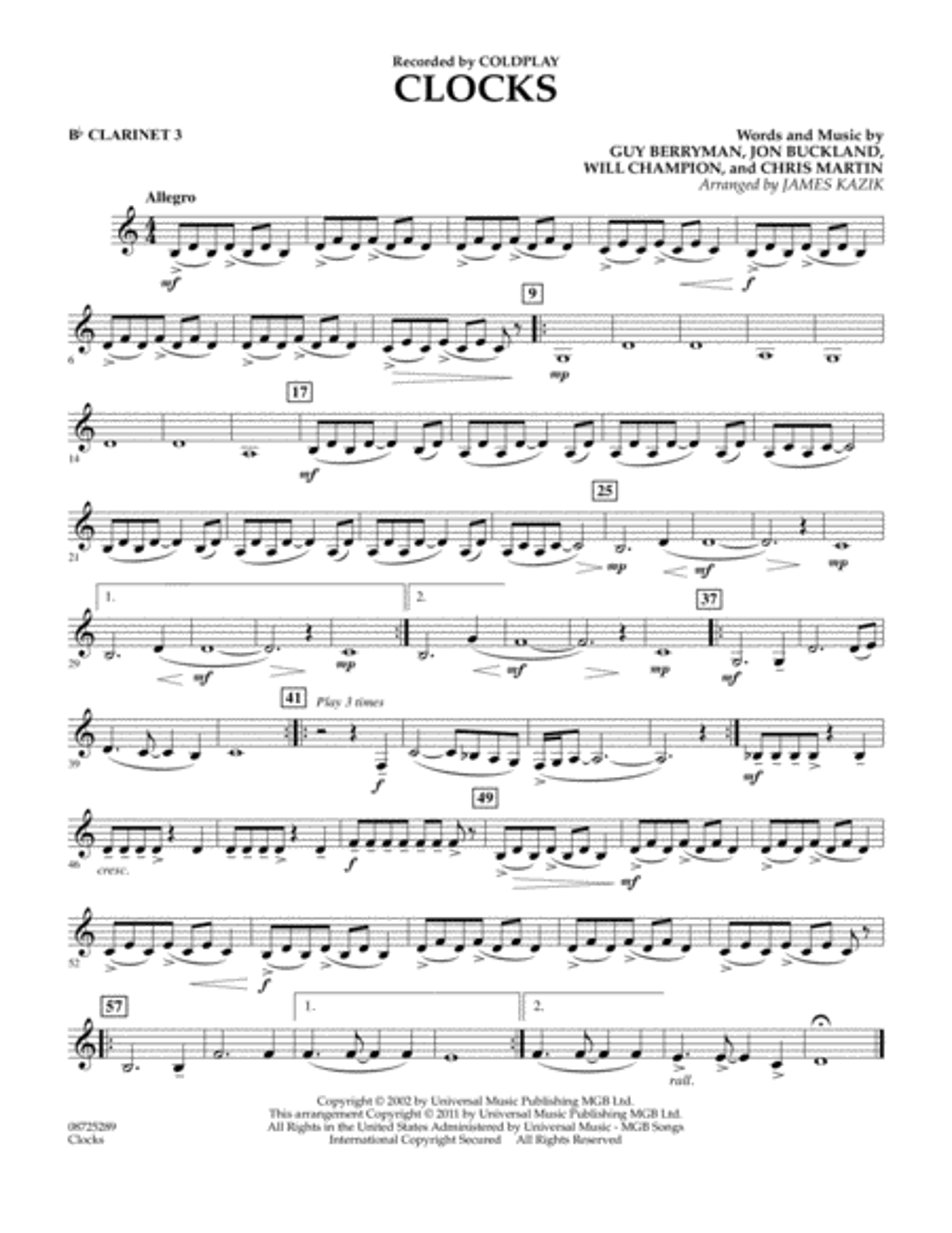 Clocks - Bb Clarinet 3