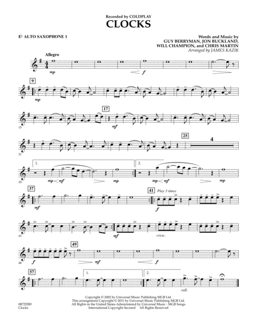 Clocks - Eb Alto Saxophone 1