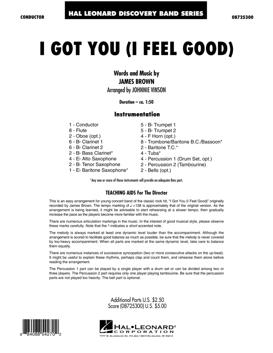 I Got You (I Feel Good) - Full Score