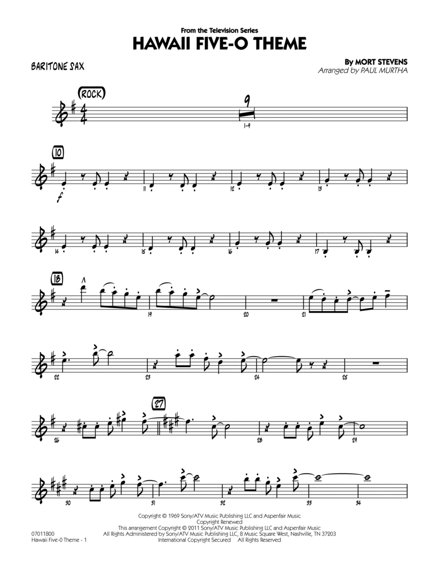 Hawaii Five-O Theme - Baritone Sax