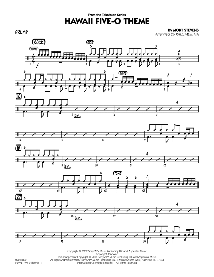 Drum jazz drum tabs : Hawaii Five-O Theme - Drums